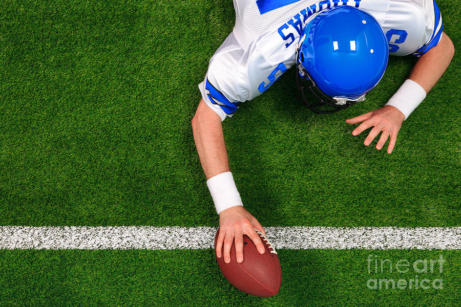 American Football Photograph - Overhead American Football Player One Handed Touchdown by Richard Thomas