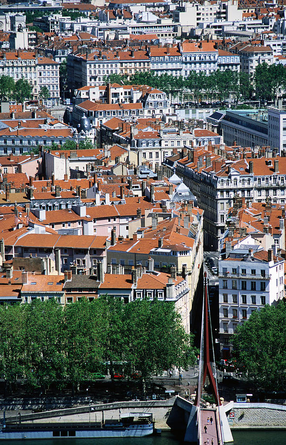 Vertical Photograph - Overhead Of City, Lyon, Rhone-alpes, France, Europe by Glenn Van Der Knijff