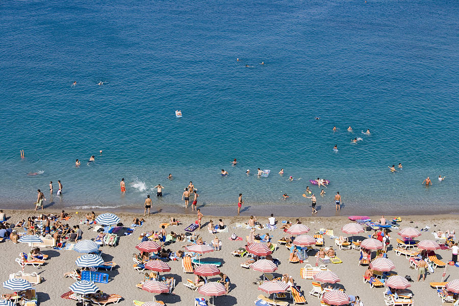 Horizontal Photograph - Overhead Of Rhodes Main Beach by Holger Leue