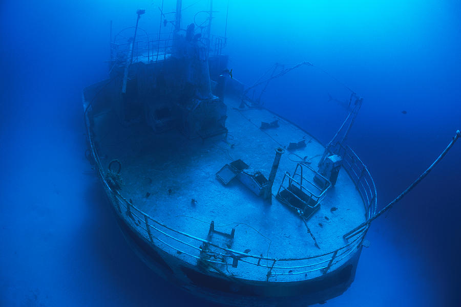 Underwater Photography Photograph - Overhead View Of A Shipwreck On The Sea by Nick Caloyianis