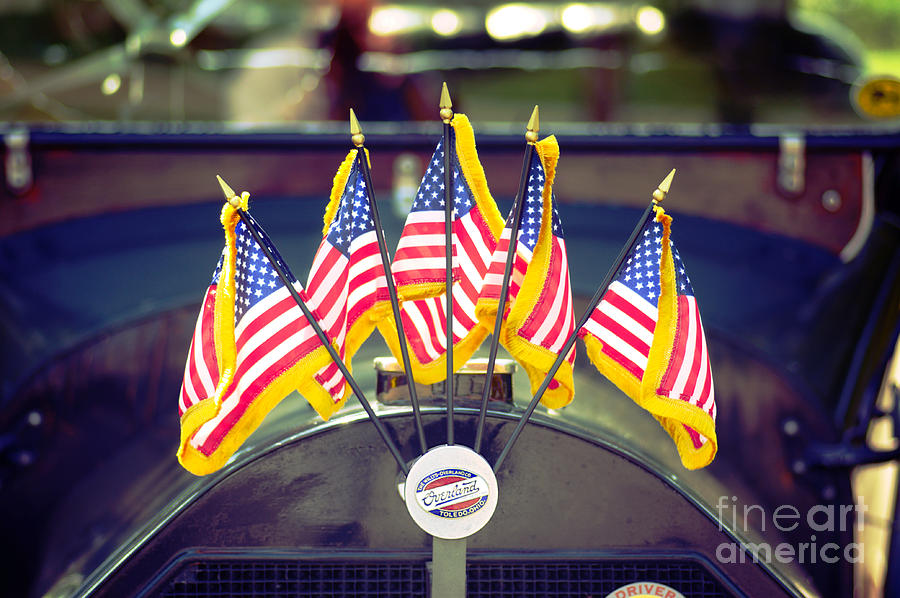 Photo Photograph - Overland Vintage Car With Flags by Floyd Menezes