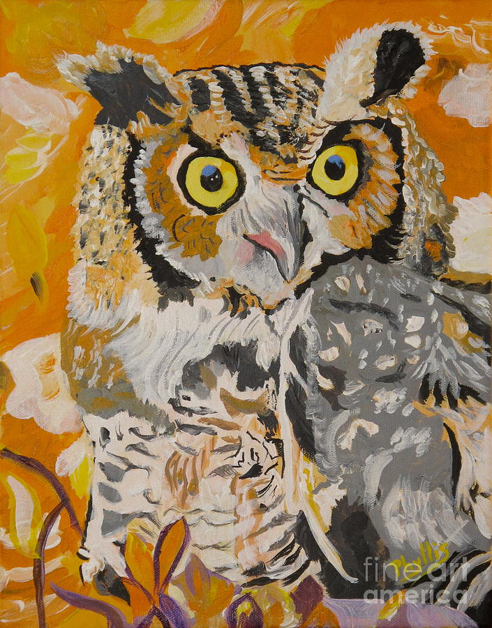 Owl Painting - Owl In The Fall by Phyllis Kaltenbach