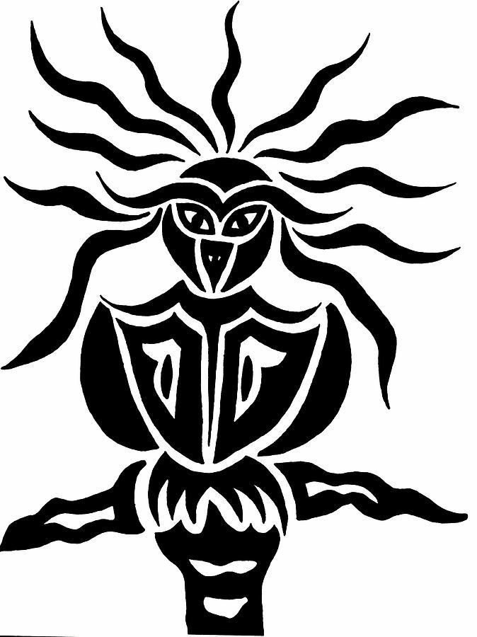 Black Ink Drawing - Owl Or Alien Two by Beth Akerman