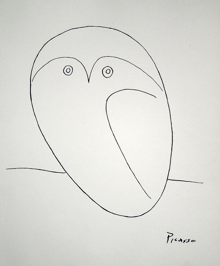 Line Art Painting : Owl painting by pablo picasso