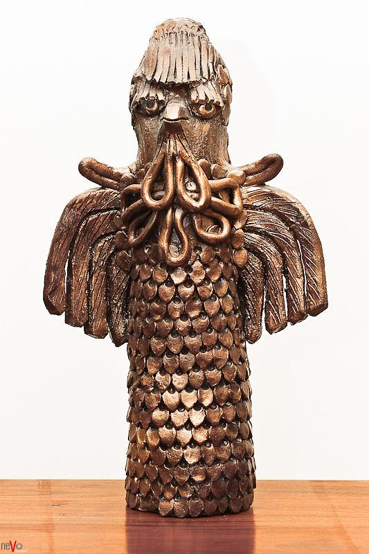 Owl Sculpture - Owl Totem Bronze Gold Color Wings Beak Hair Penetrating Eyes  Scales Feathers   by Rachel Hershkovitz