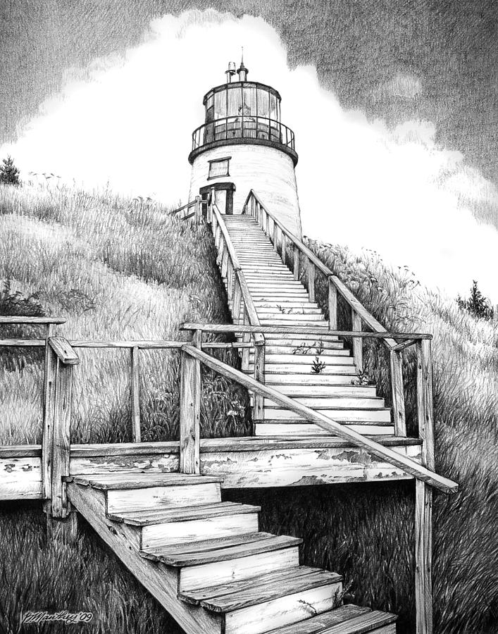Line Art Lighthouse : Owl s head lighthouse drawing by bob manthey