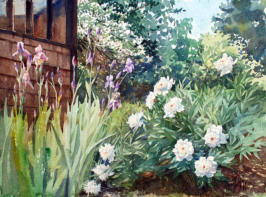 Summer Garden Painting - Oxenden Peonies by Peter Sit