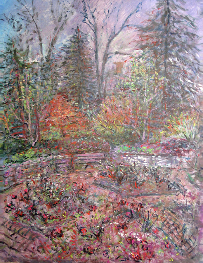Rose Painting - Oxford Rose Garden by Elizabeth Carrozza