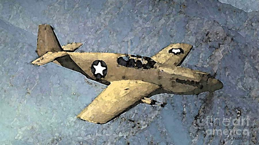 P 51 Mustang Painting - P51 Mustang In Flight by George Pedro