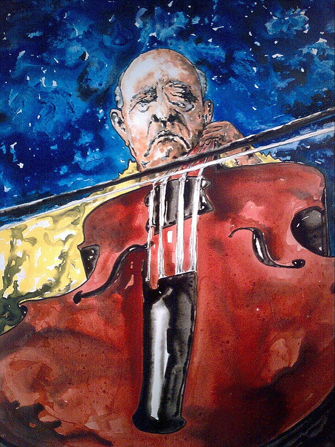 Water Colors Painting - Pablo Casals by Omar Javier Correa