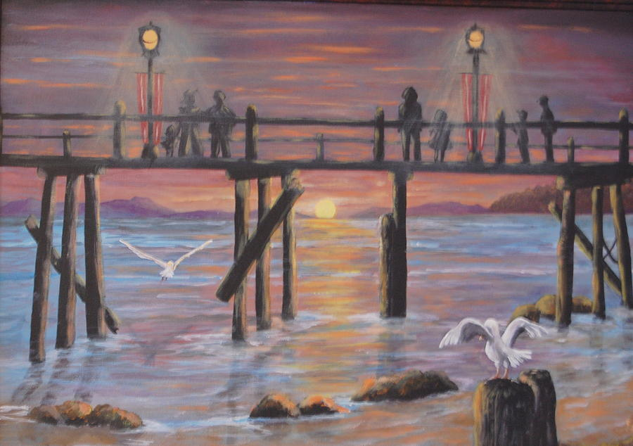 Pier Painting - Pacific Ocean Moonlight by Janna Columbus