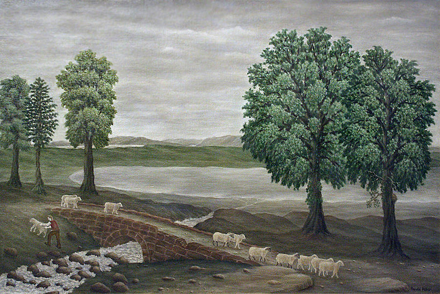 Sheep Painting - Pack Horse Bridge - Lake District by Ronald Haber
