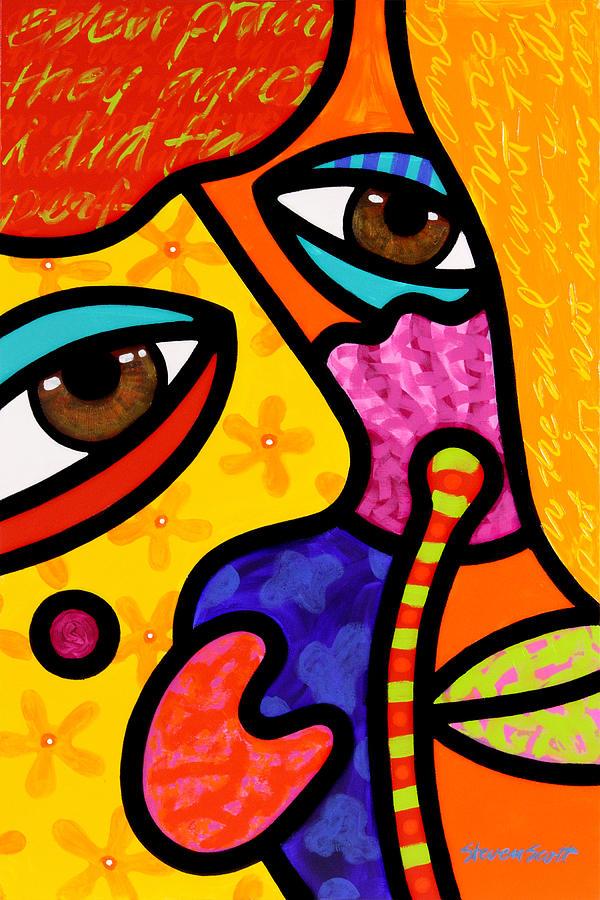 Eyes Painting - Paddy Loves Peonies by Steven Scott