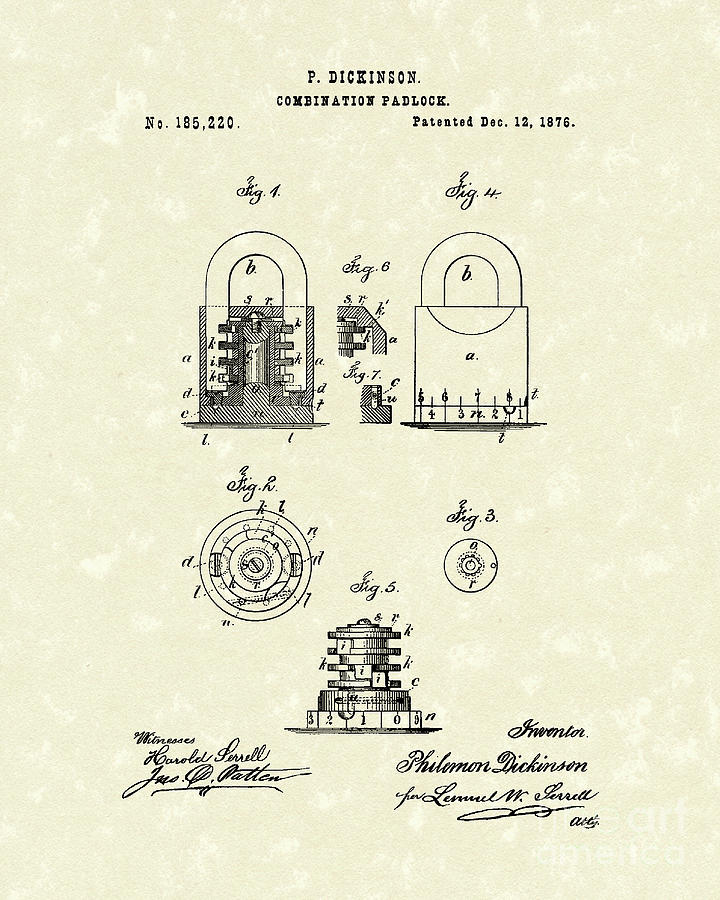 Dickinson Drawing - Padlock 1876 Patent Art by Prior Art Design