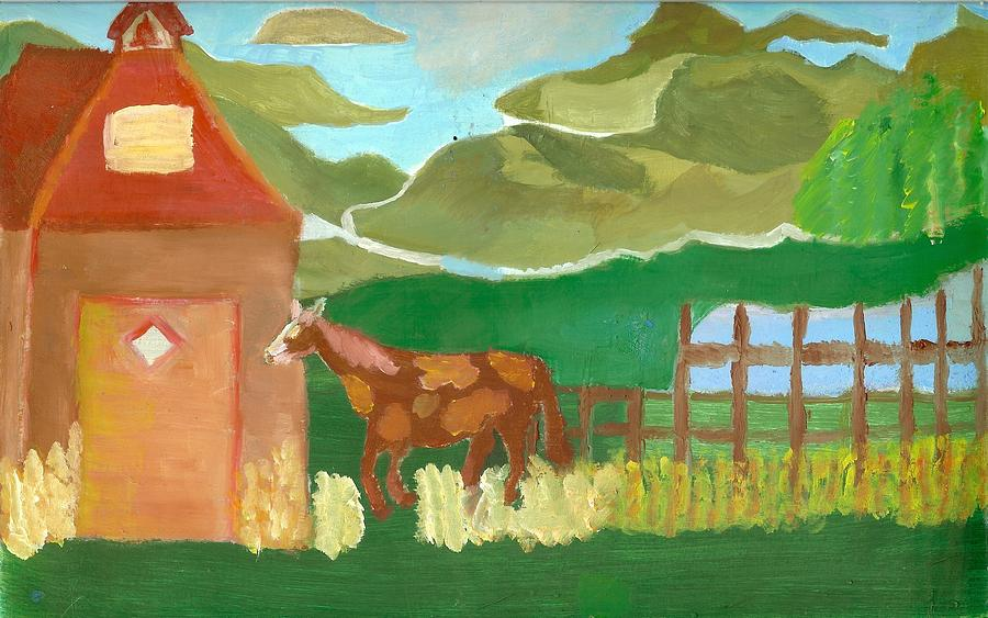 Red School House Painting - Paint Pony At Red Schoolhouse by Shannon SmithCumiford