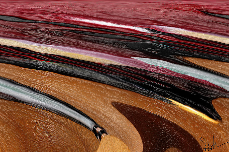 Red Digital Art - Paint Strokes by Pam Gleichman