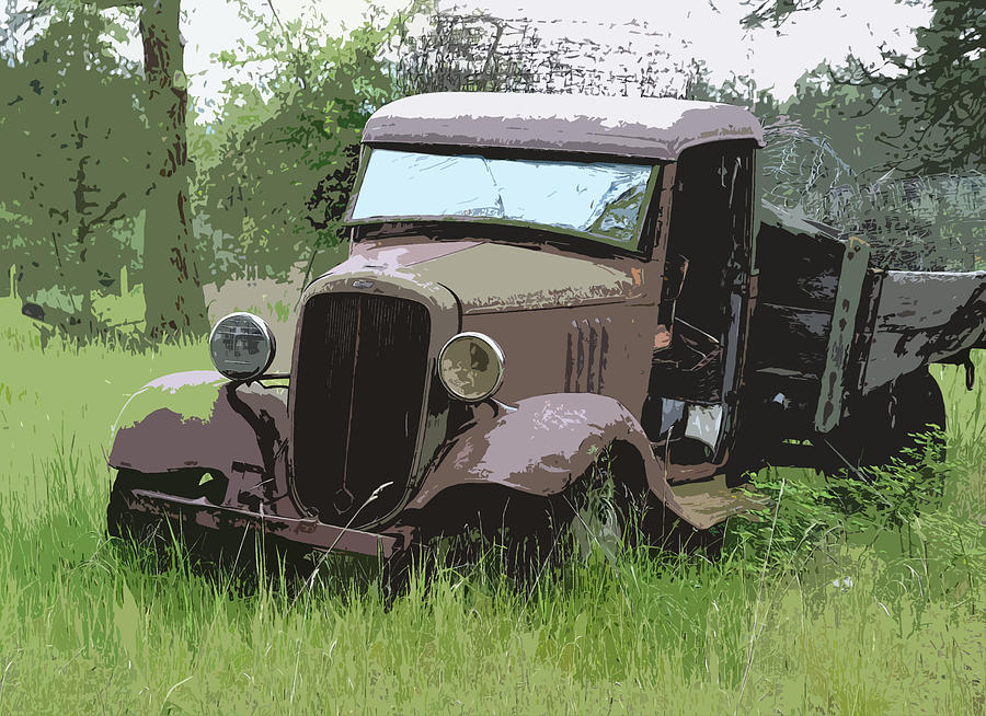 Chevy Truck Photograph - Painted 30s Chevy Truck by Steve McKinzie