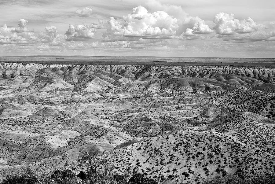 B/w Photograph - Painted Desert In B And W by Melany Sarafis