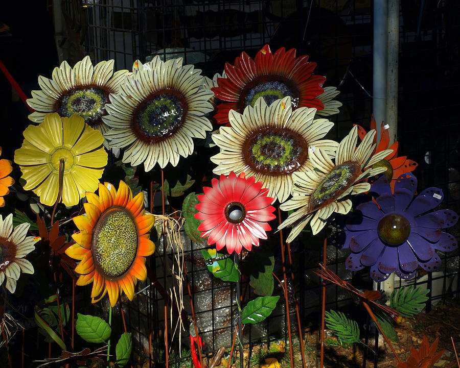 Painted Metal Flowers Photograph By Mike Stanfield
