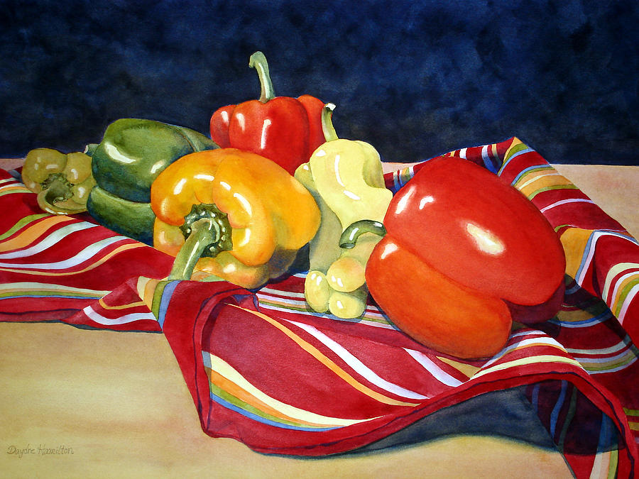 Still-life Painting - Painted Peppers by Daydre Hamilton