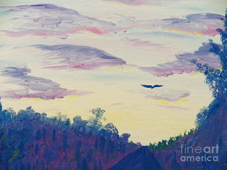 Sky Scape Painting - Painting  Driving At Dawn by Judy Via-Wolff