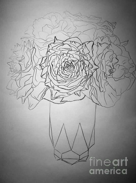 Contour Drawing - Painting Roses Red by Jeffrey Kyker