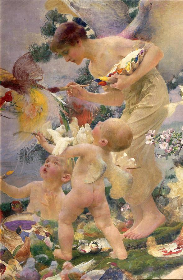 Bird; Female; Winged Putto; Paintbrush; Palette; Child; Angel; Creation Painting - Painting The Birds by Franz Dvorak