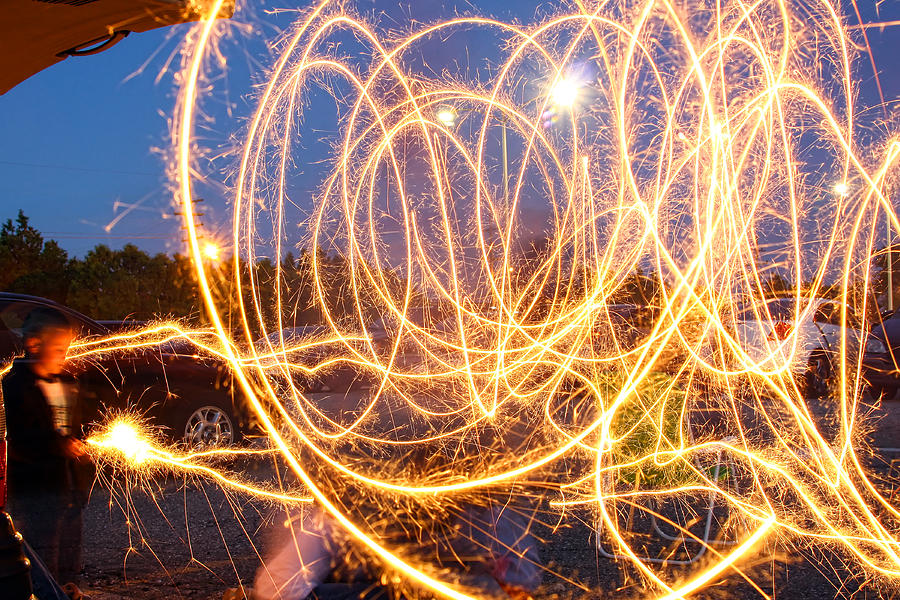 Fire Photograph - Painting With Sparklers by Gordon Dean II