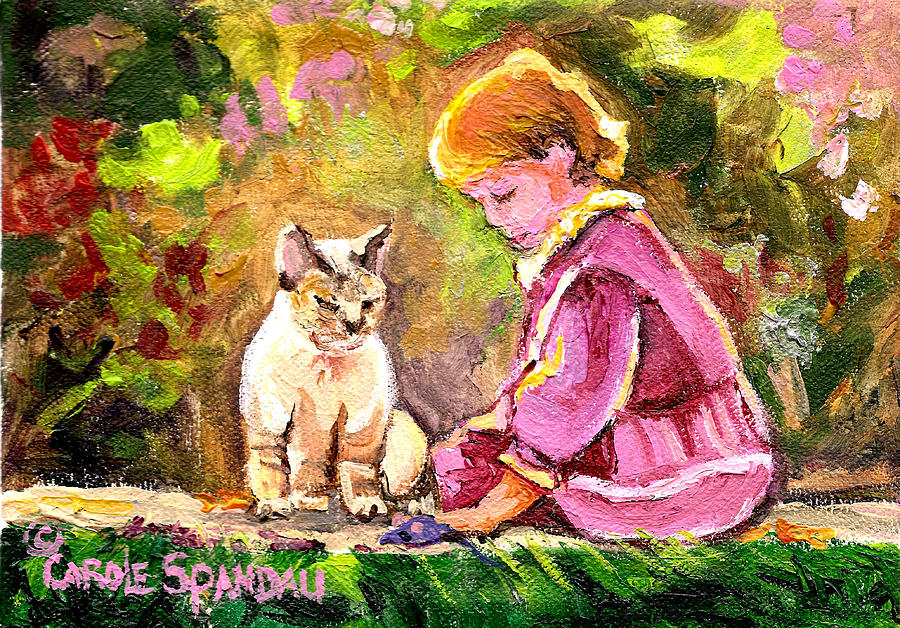 Paintings For Little Girls Childrens Art Girl With Cat Painting