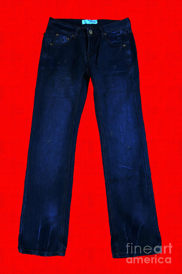Blue Photograph - Pair Of Jeans 2 - Painterly by Wingsdomain Art and Photography