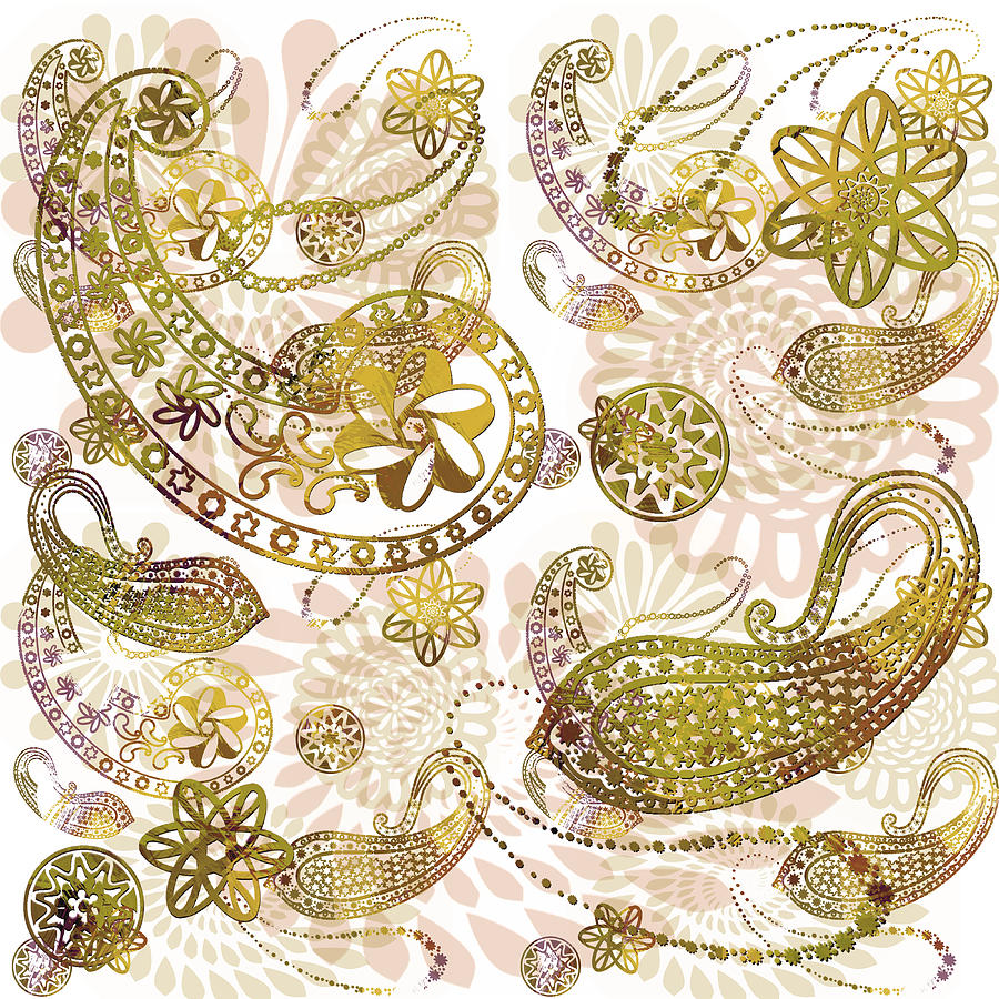 Paisley - Nirvana Gold Digital Art by Andrea Ribeiro