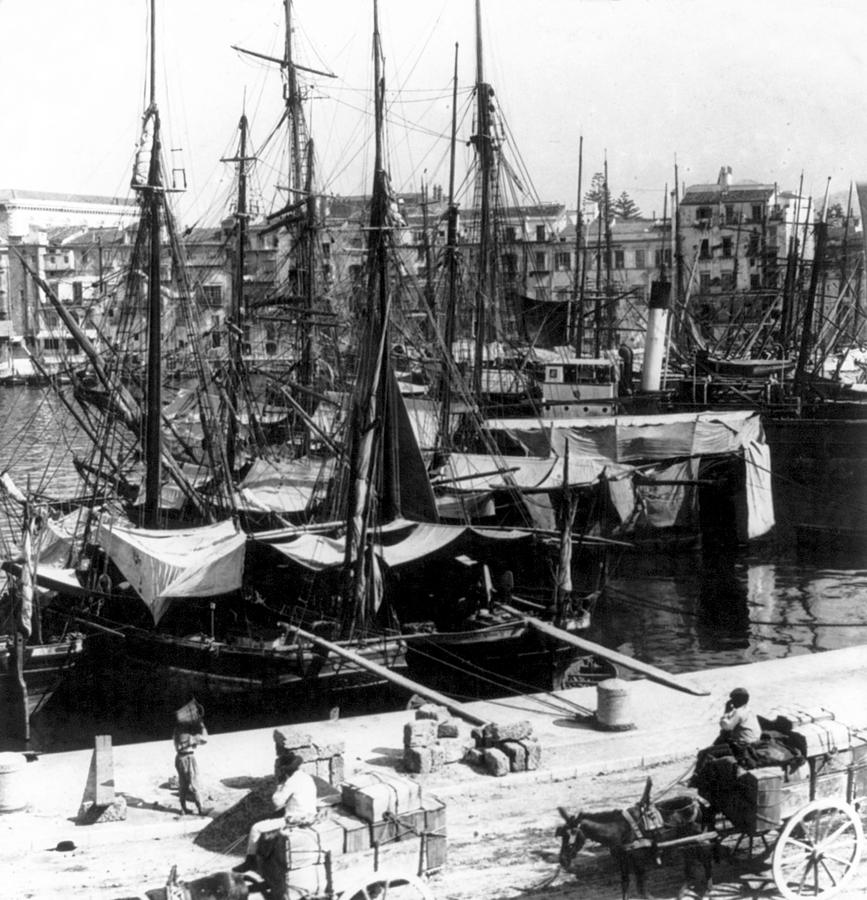 Old Photograph - Palermo Sicily - Shipping Scene At The Harbor by International  Images
