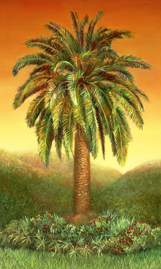 Palm tree at dawn in rust painting by nancy tilles for Painting palm trees