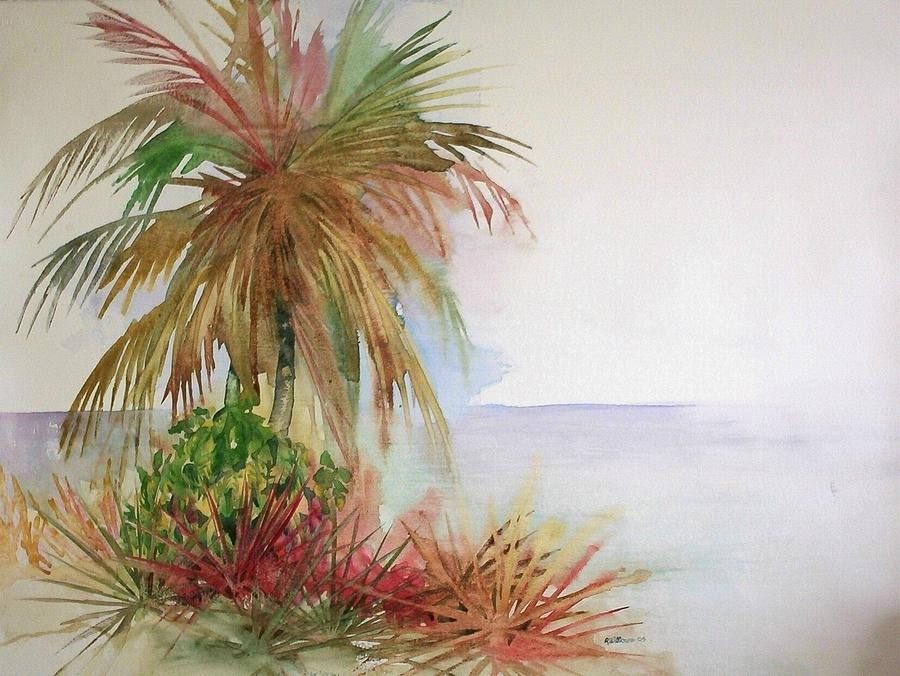 Palms on beach II by Richard Willows