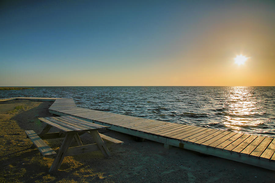 Bay Photograph - Pamlico Sound And Boardwalk I by Steven Ainsworth