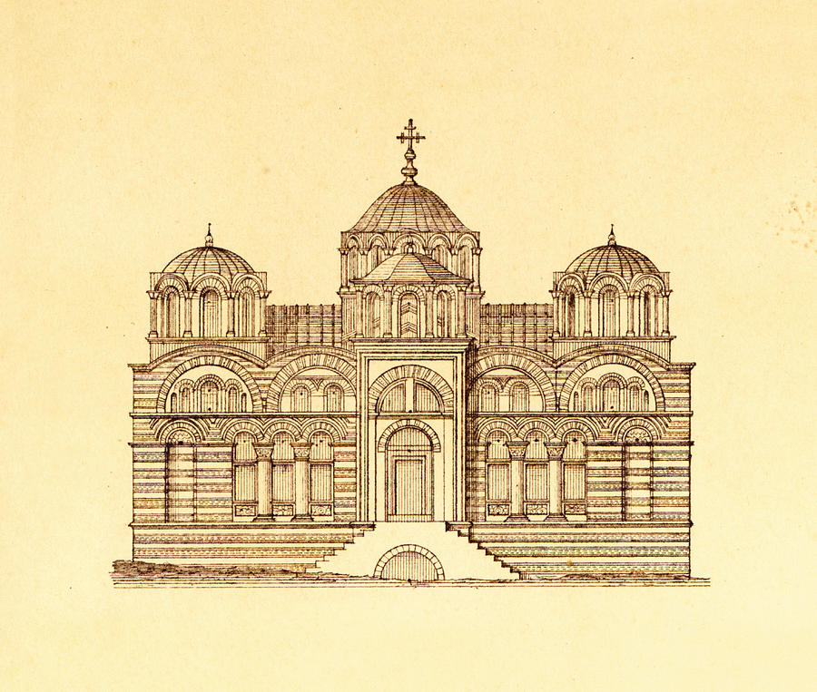Antique Drawing - Pammakaristos Byzantine Church In Constantinople  by Pictus Orbis Collection