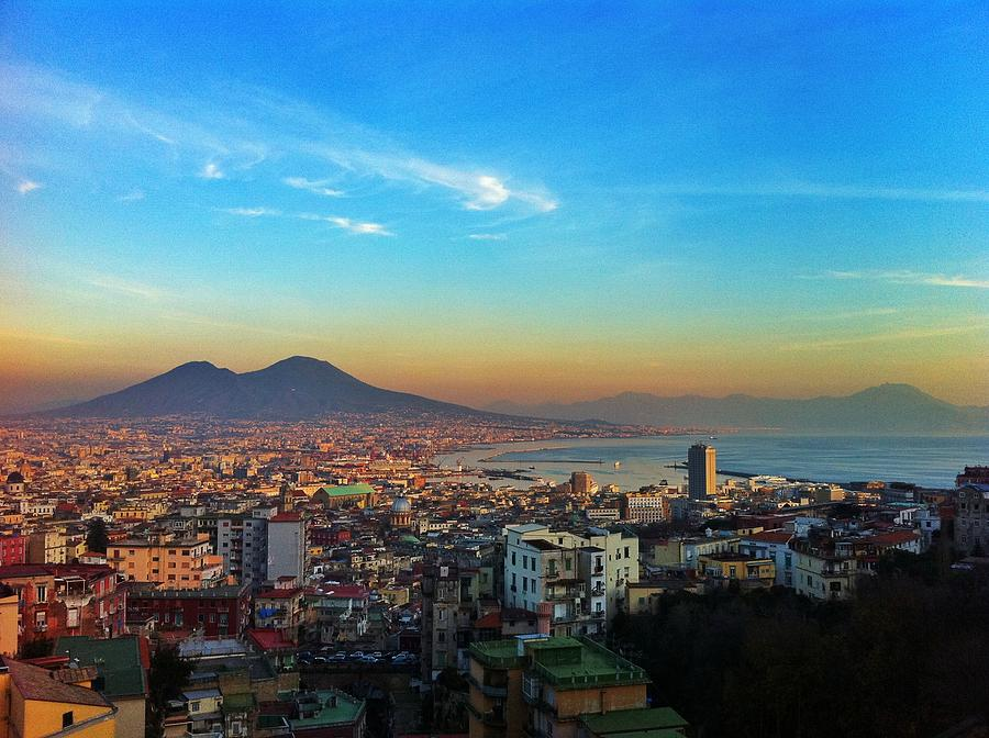 Sunset Photograph - Panorama di Napoli col Vesuvio by Gianluca Sommella