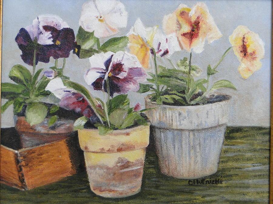 Floral Painting - Pansies by Cindy Plutnicki