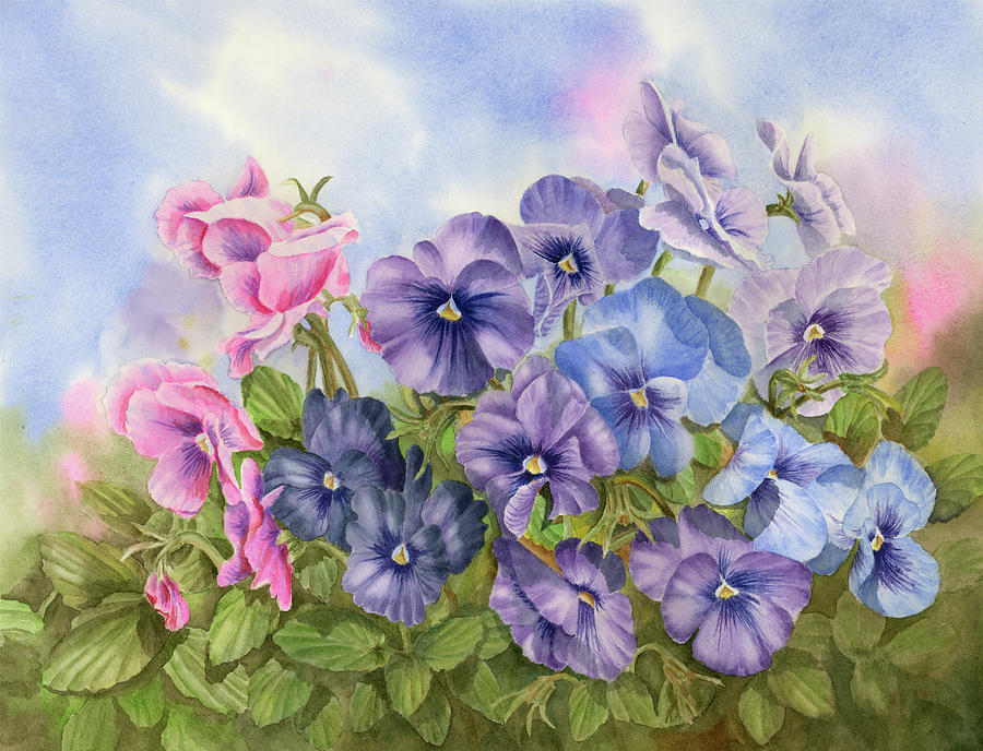 Watercolor Painting - Pansies by Leona Jones