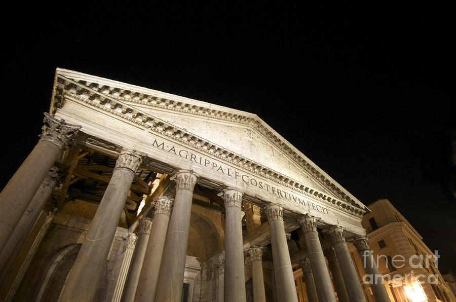 Views Photograph - Pantheon At Night. Rome by Bernard Jaubert