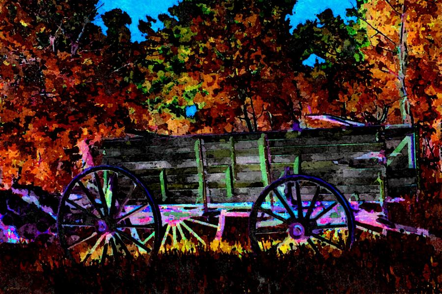 Wagon Painting - Papas Old Wagon by Lynda K Cole-Smith