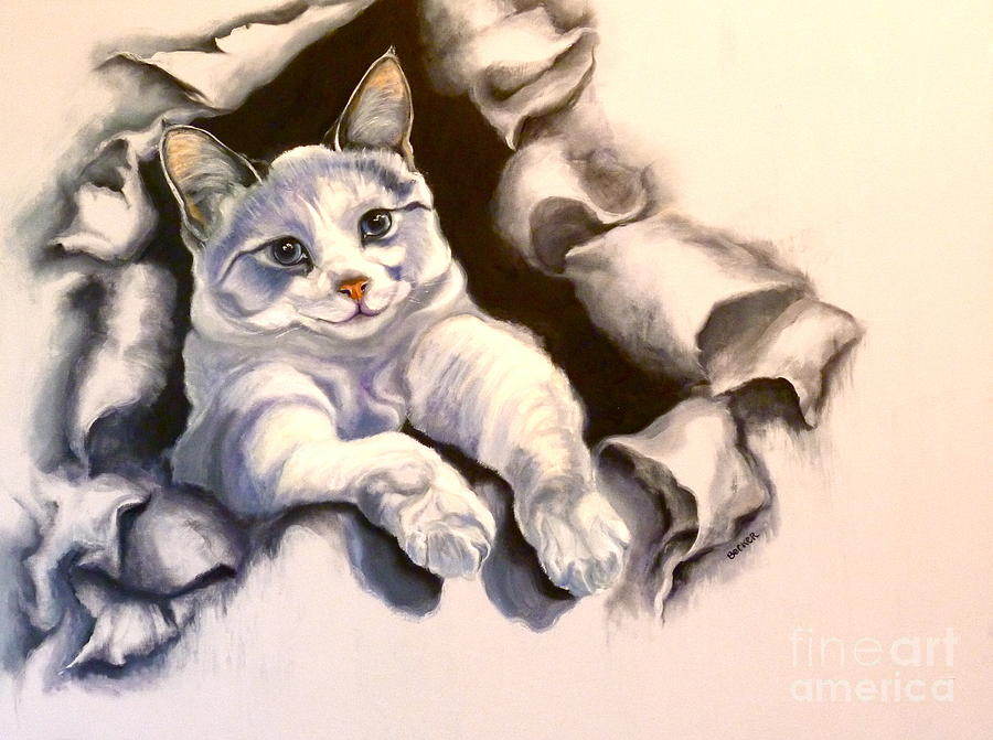 Cat Painting - Paper Tiger by Susan A Becker