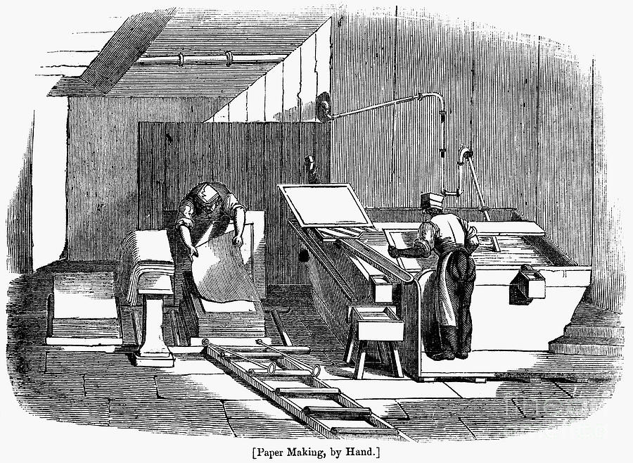 1833 Photograph - Papermaking, 1833 by Granger
