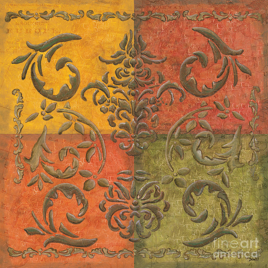 Transitional Painting - Paprika Scroll by Debbie DeWitt