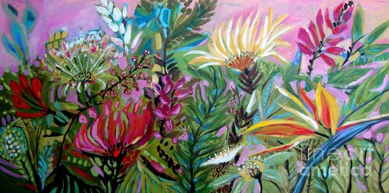Paradise Garden Painting By Karen Fields