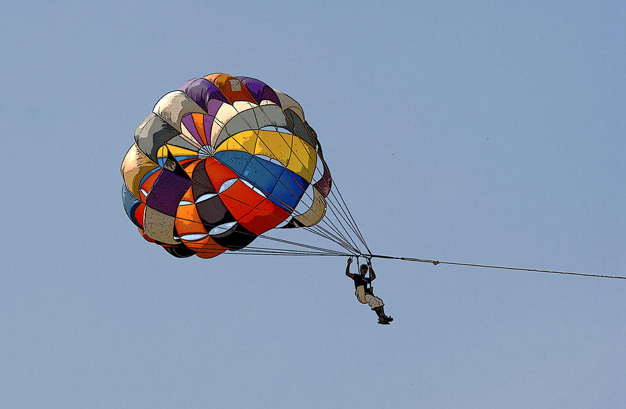 Vibrant Photograph - Paraglider Blue by Kantilal Patel