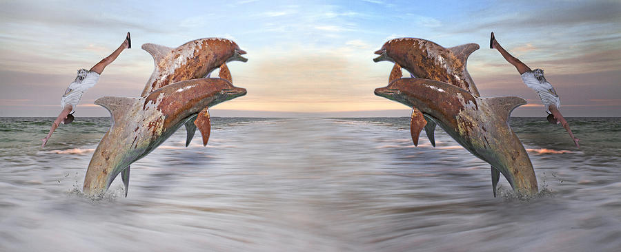 Dolphin Digital Art - Parallels  by Betsy Knapp