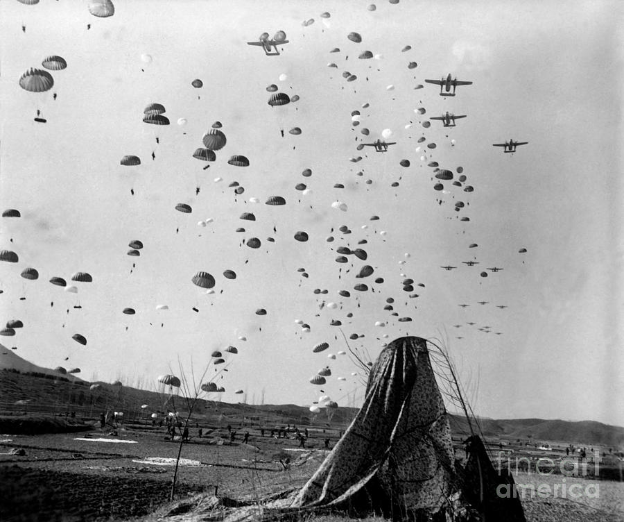 Horizontal Photograph - Paratroopers Jump From From C-119s by Stocktrek Images