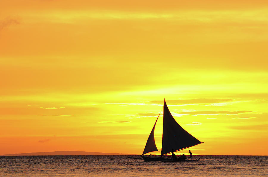 Horizontal Photograph - Paraw Sailing At Sunset, Philippines by Joyoyo Chen