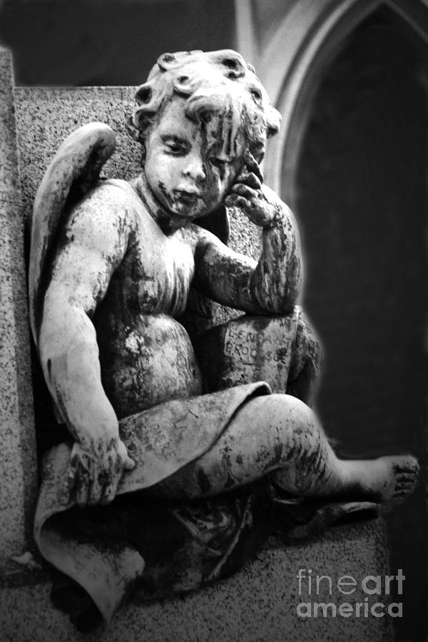 Paris Cemetery - Pere La Chaise - Black And White Cherub Photograph by Kathy Fornal